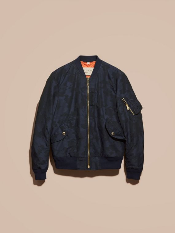 Navy Camouflage Jacquard Technical Bomber Jacket - cell image 3