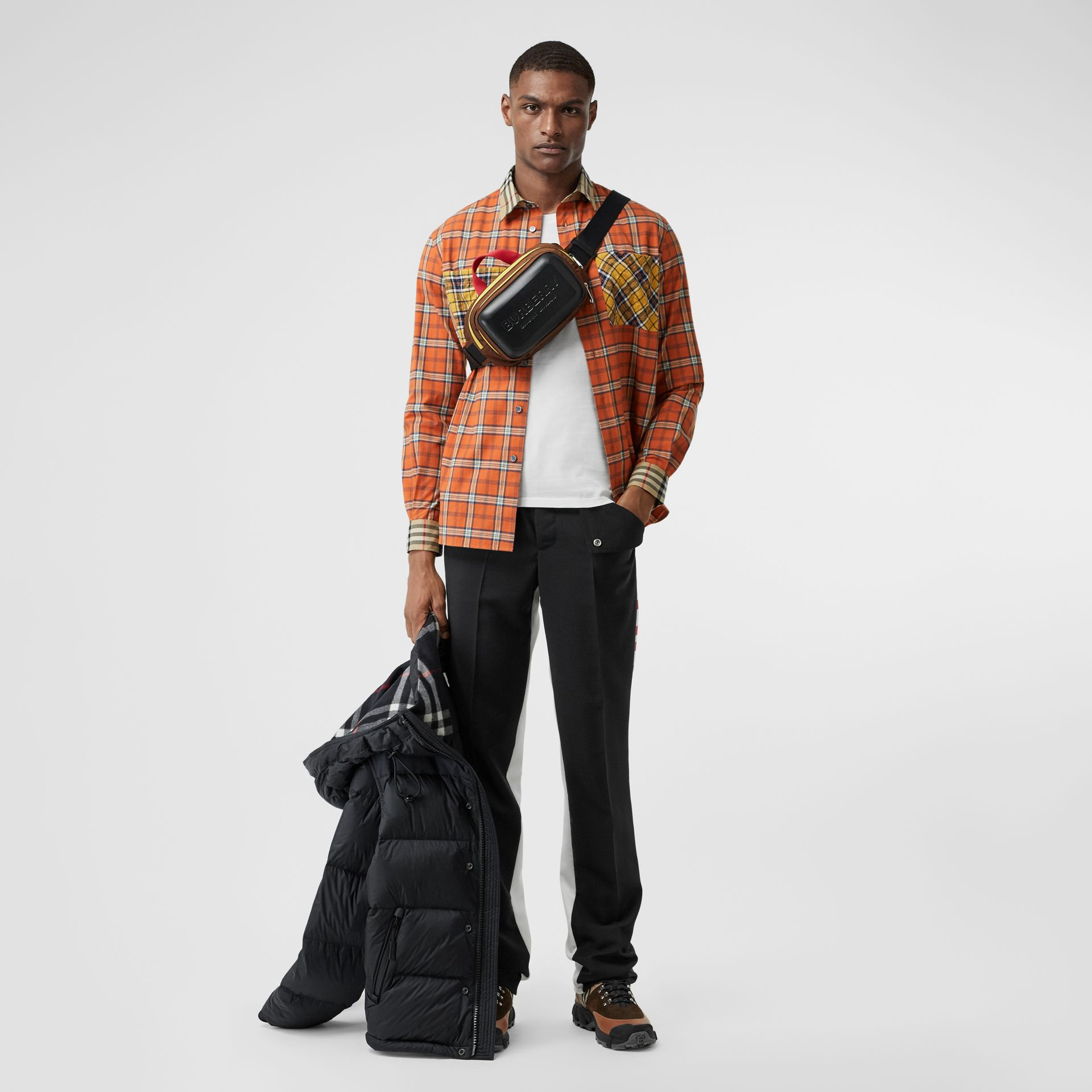 Contrast Check Cotton Flannel Oversized Shirt in Orange - Men | Burberry - gallery image 0