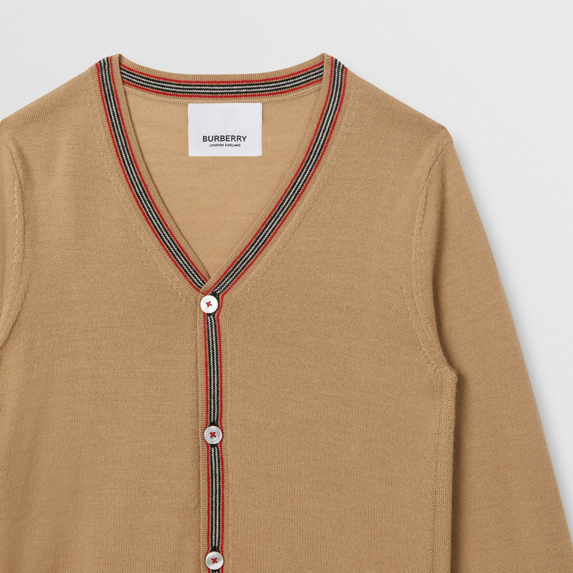 Icon Stripe Detail Merino Wool Cardigan in Archive Beige | Burberry - gallery image 5