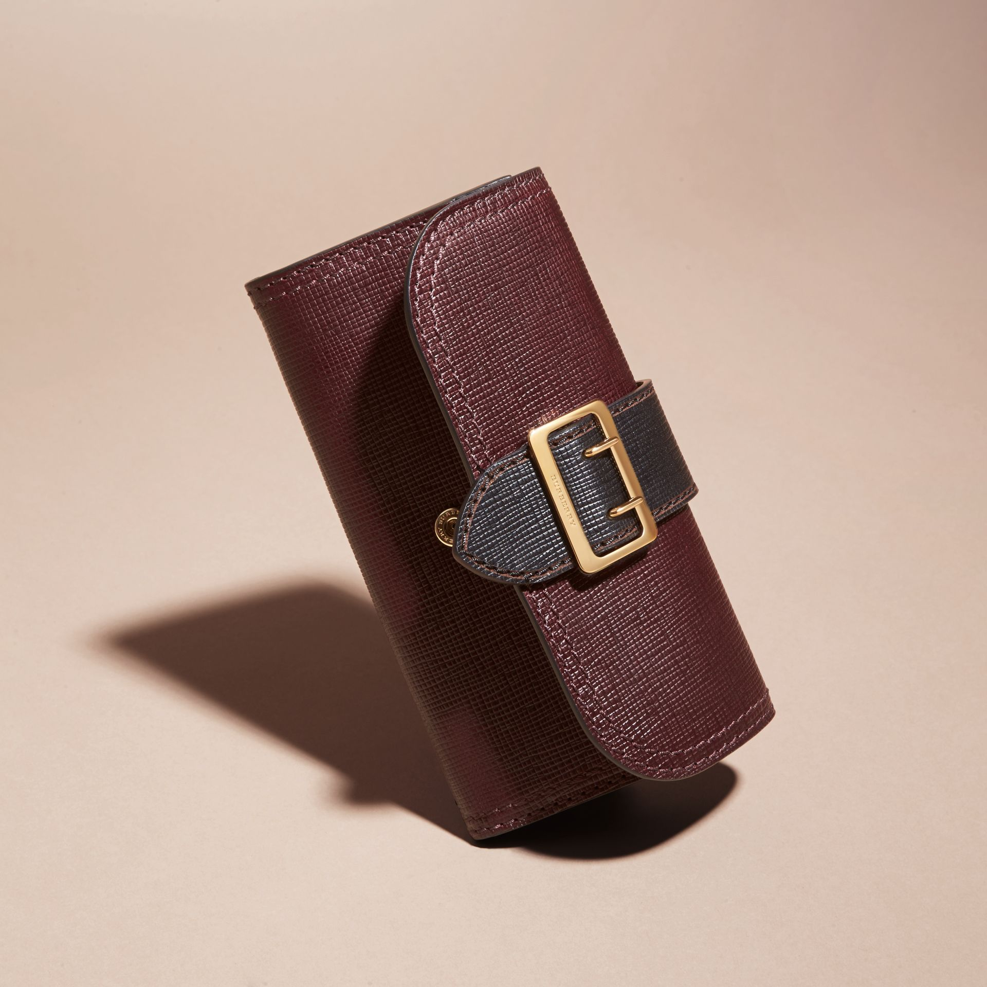 Burgundy/black Textured Leather Continental Wallet - gallery image 3