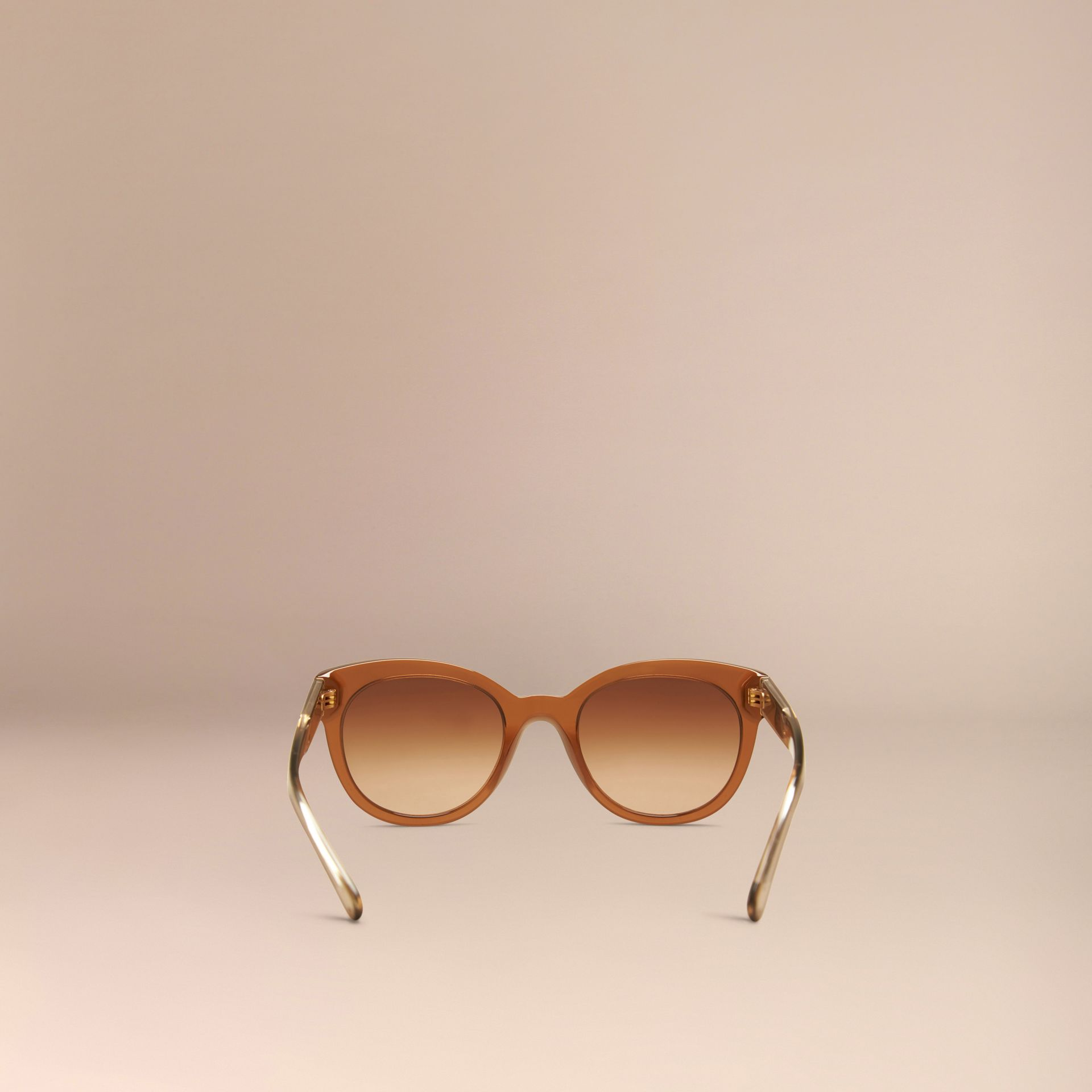 Taupe brown Check Detail Oval Sunglasses Taupe Brown - gallery image 4
