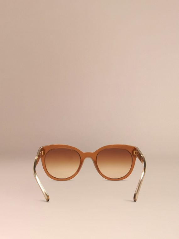 Taupe brown Check Detail Oval Sunglasses Taupe Brown - cell image 3