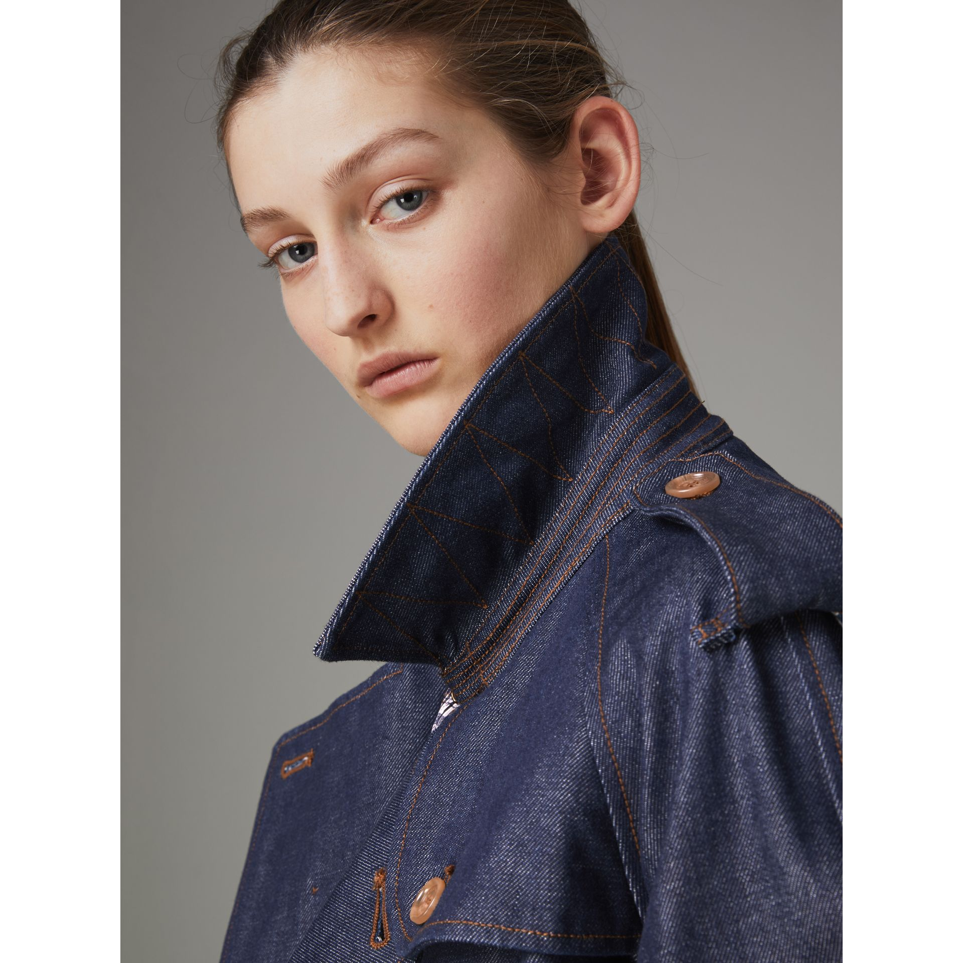 Denim Trench Coat in Dark Cobalt - Women | Burberry Singapore - gallery image 1