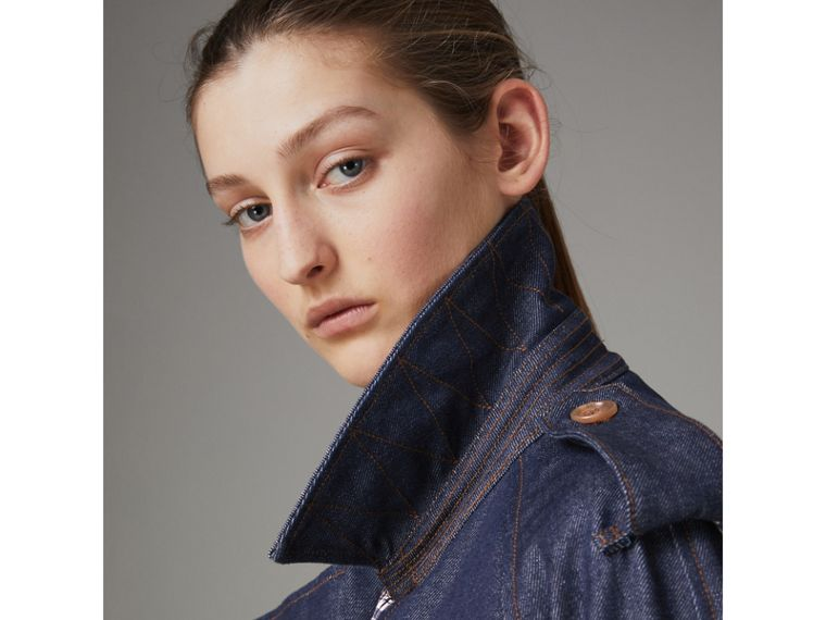 Denim Trench Coat in Dark Cobalt - Women | Burberry - cell image 1