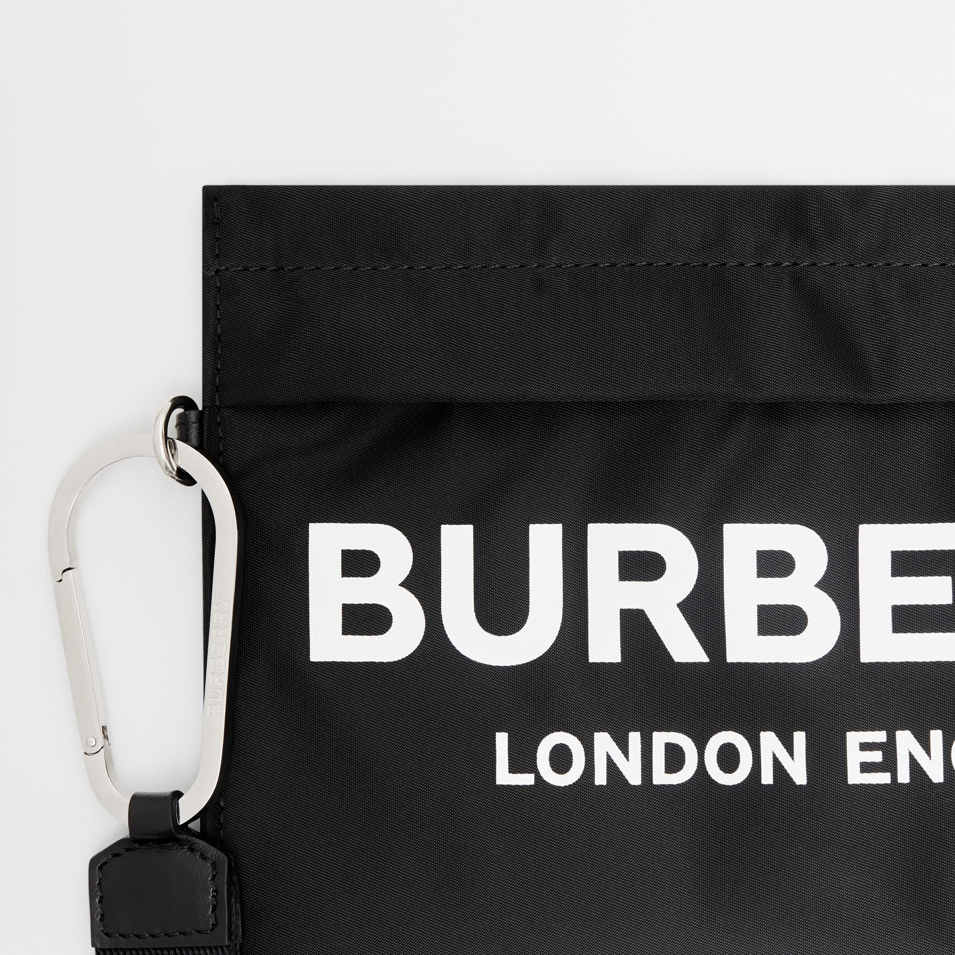 Logo Print Nylon Zip Pouch in Black - Women | Burberry United States - gallery image 1