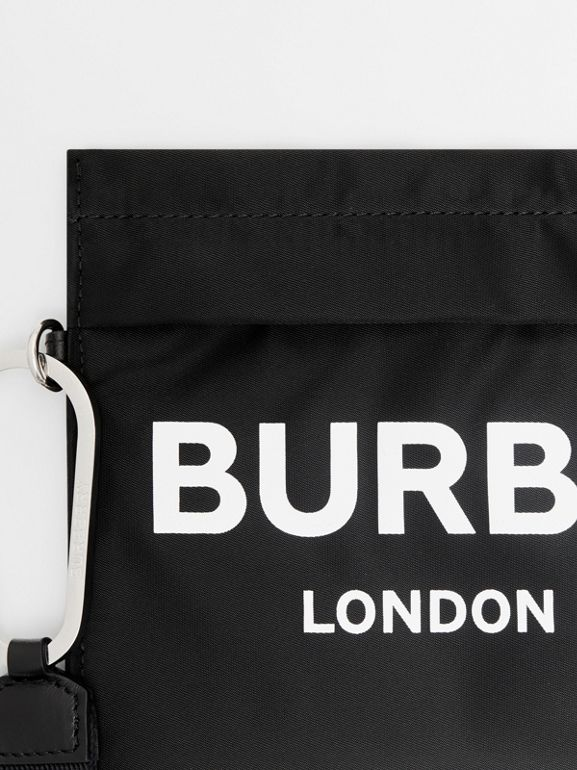Logo Print Nylon Zip Pouch in Black - Women | Burberry United States - cell image 1