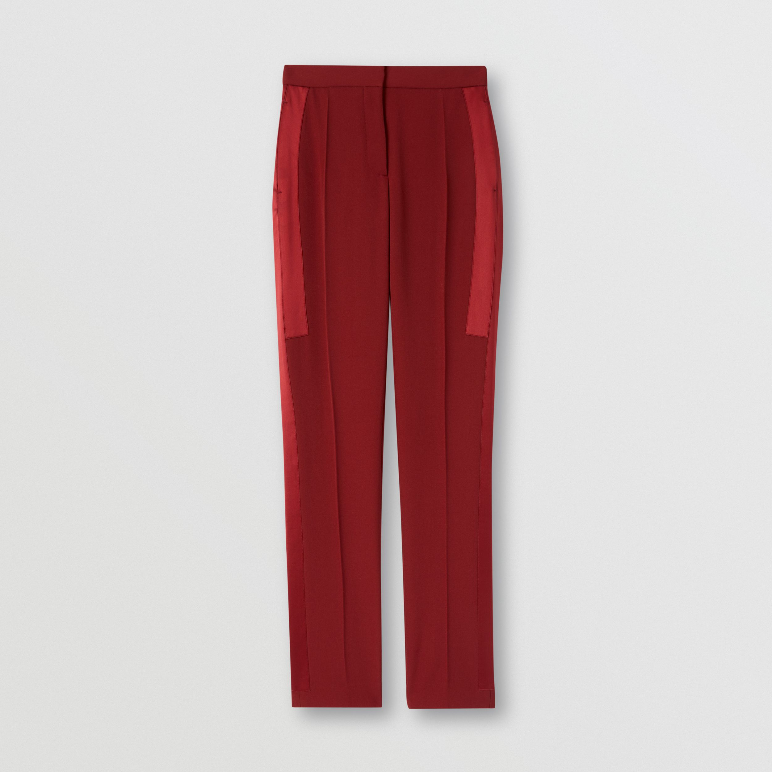 Silk Satin Side Stripe Wool Tailored Trousers in Dark Carmine - Women | Burberry Australia - 4