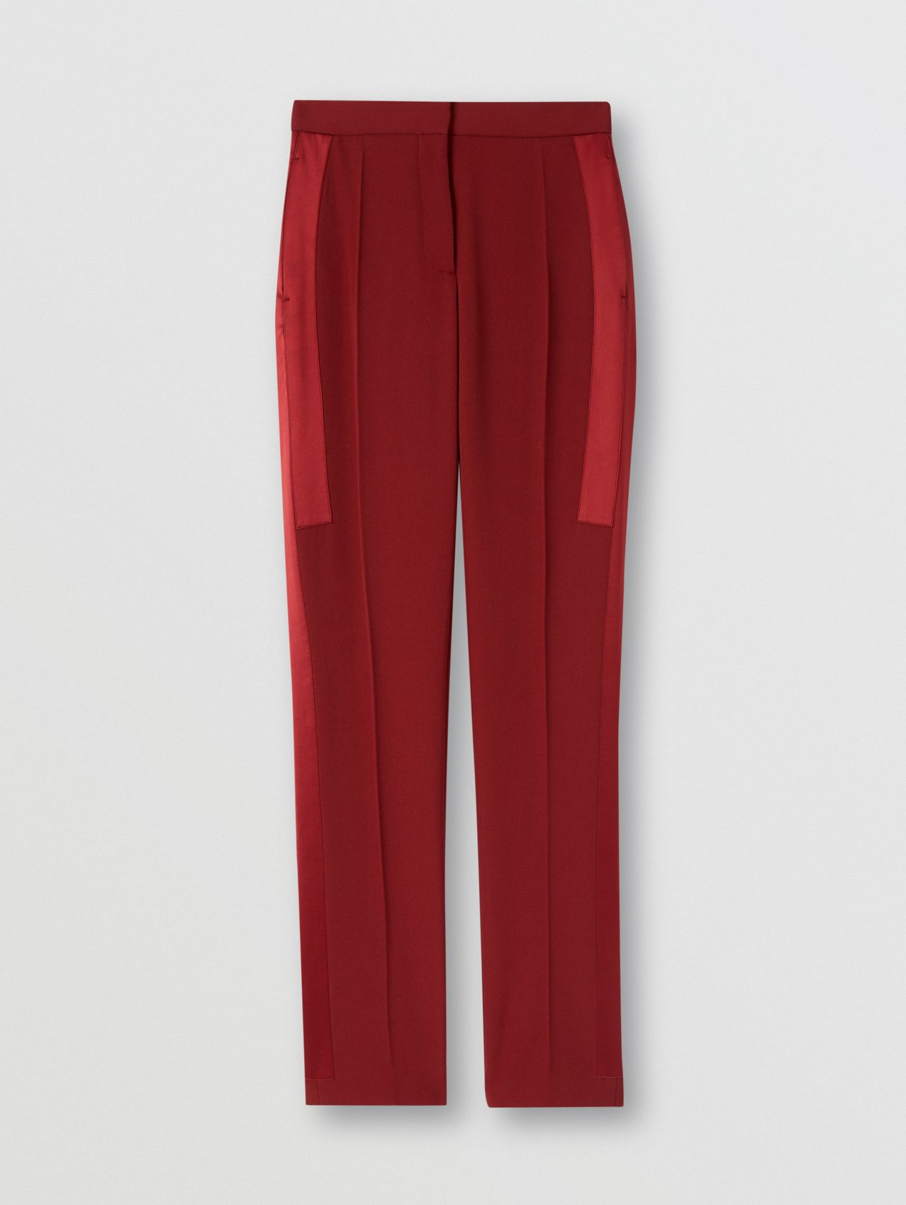 Silk Satin Side Stripe Wool Tailored Trousers in Dark Carmine