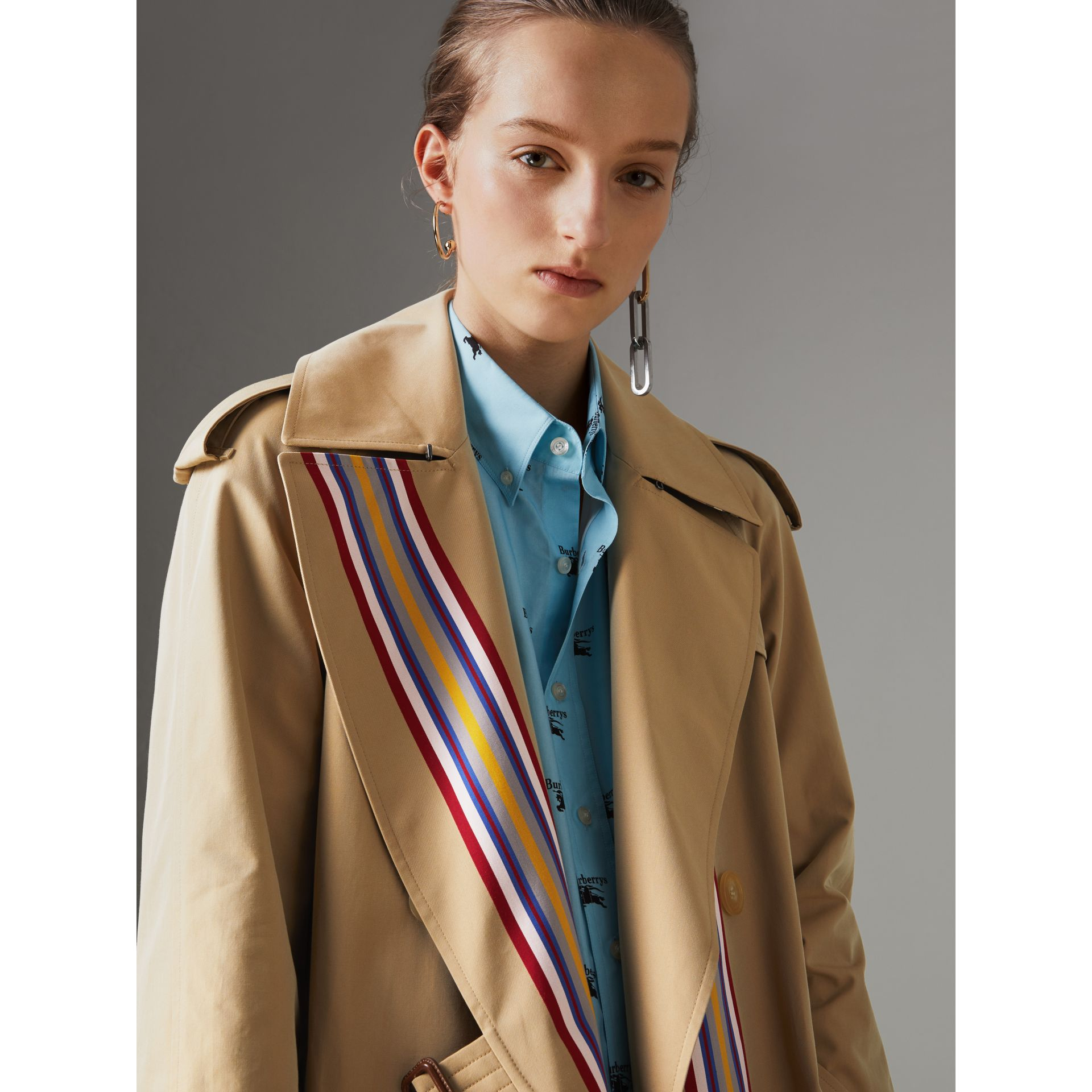 Striped Ribbon Gabardine Oversized Trench Coat in Honey - Women | Burberry United Kingdom - gallery image 6