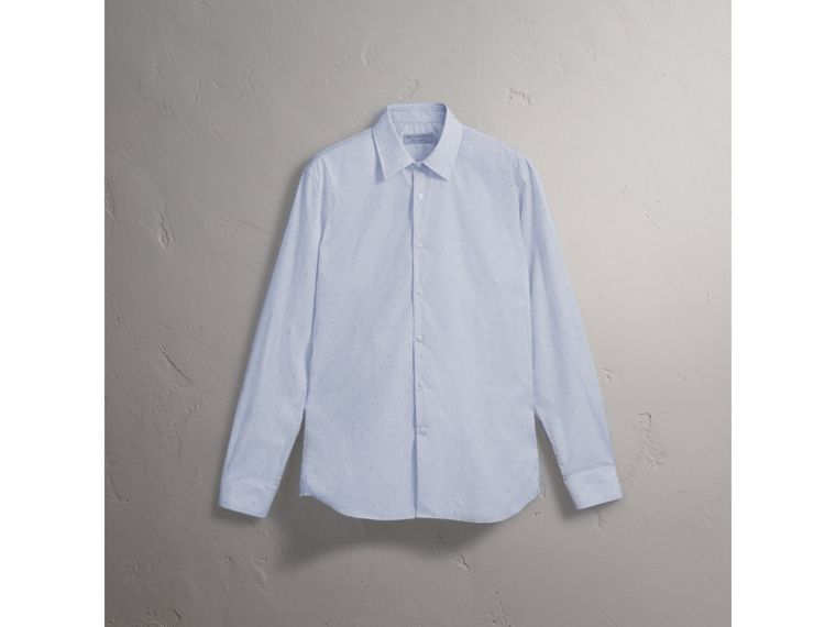 Modern Fit Striped Fil Coupé Cotton Poplin Shirt - Men | Burberry - cell image 4