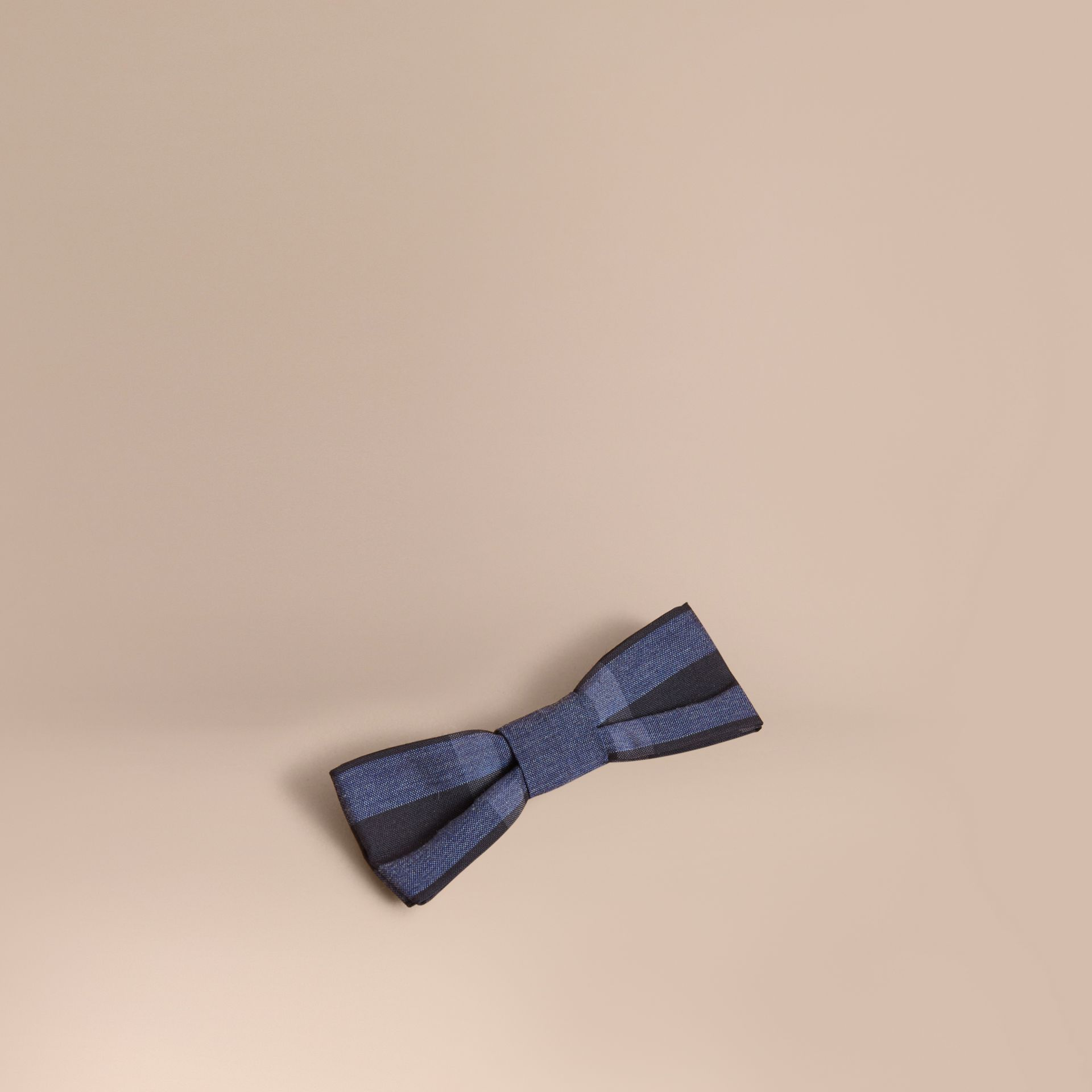 Check Silk Blend Bow Tie in Dark Mineral Blue | Burberry - gallery image 0