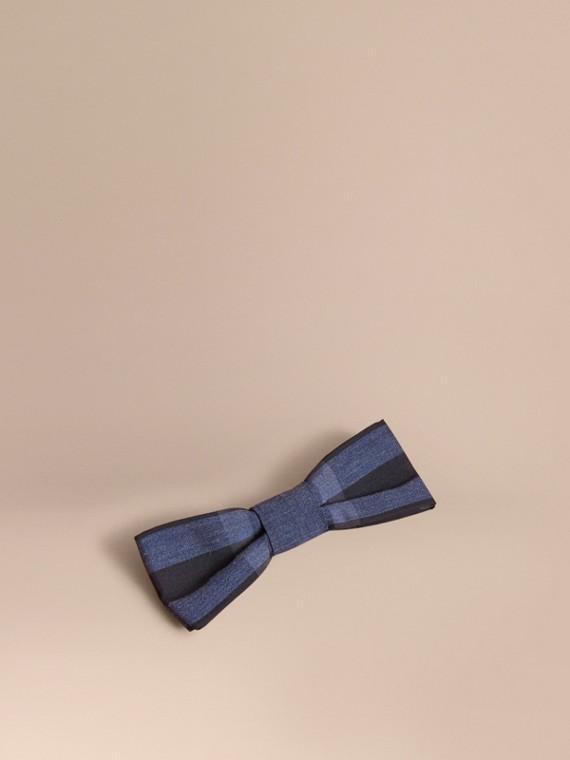 Check Silk Blend Bow Tie in Dark Mineral Blue