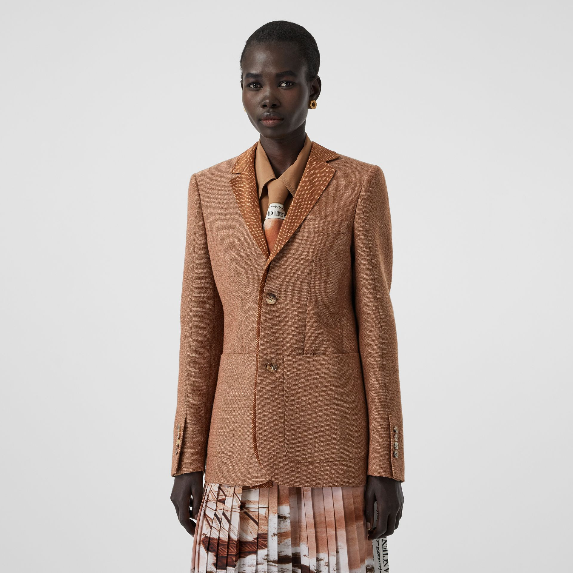Fish-scale Print Bib Detail Wool Tailored Jacket in Bronze - Women | Burberry - gallery image 5