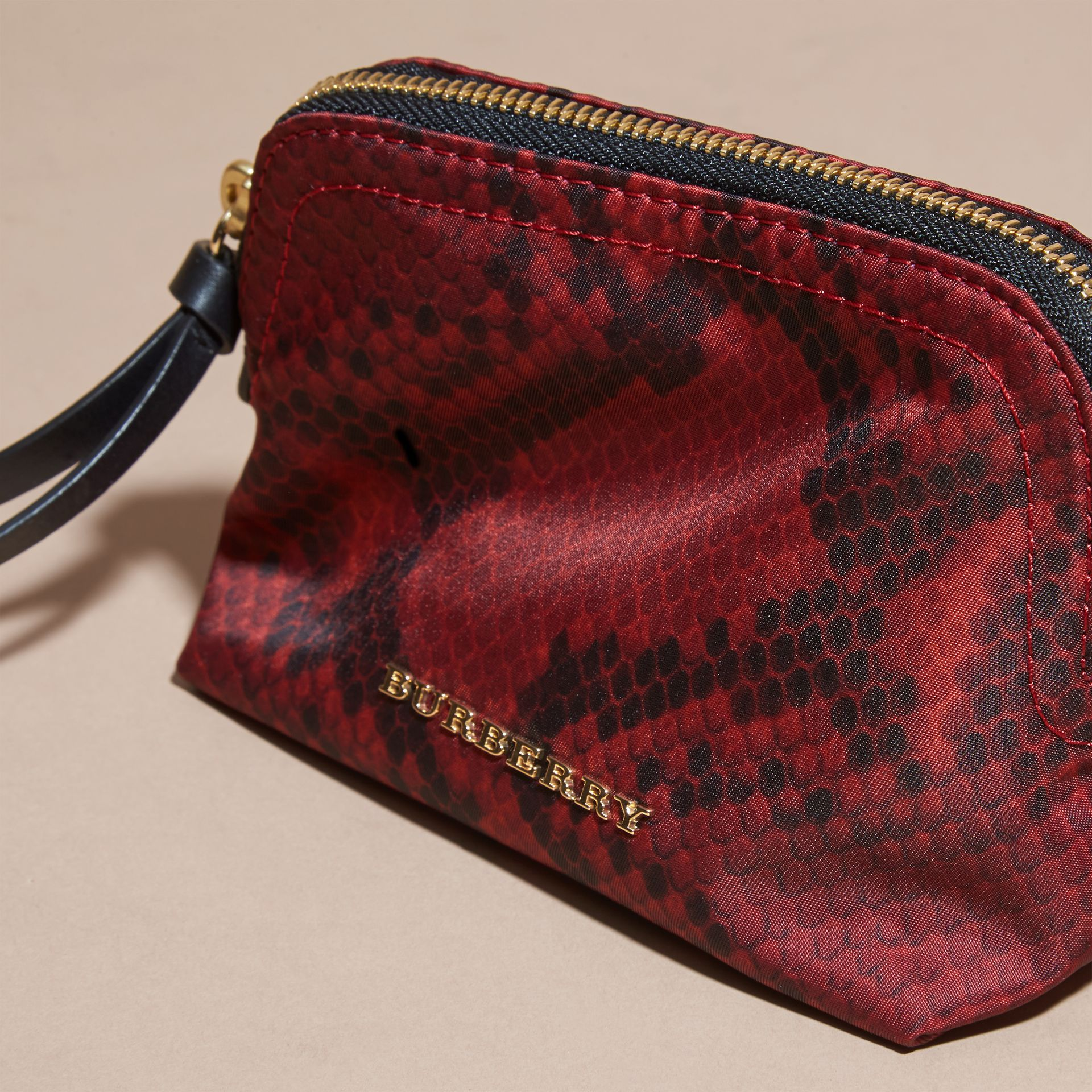 Small Zip-top Python-print Technical Nylon Pouch Burgundy Red - gallery image 6