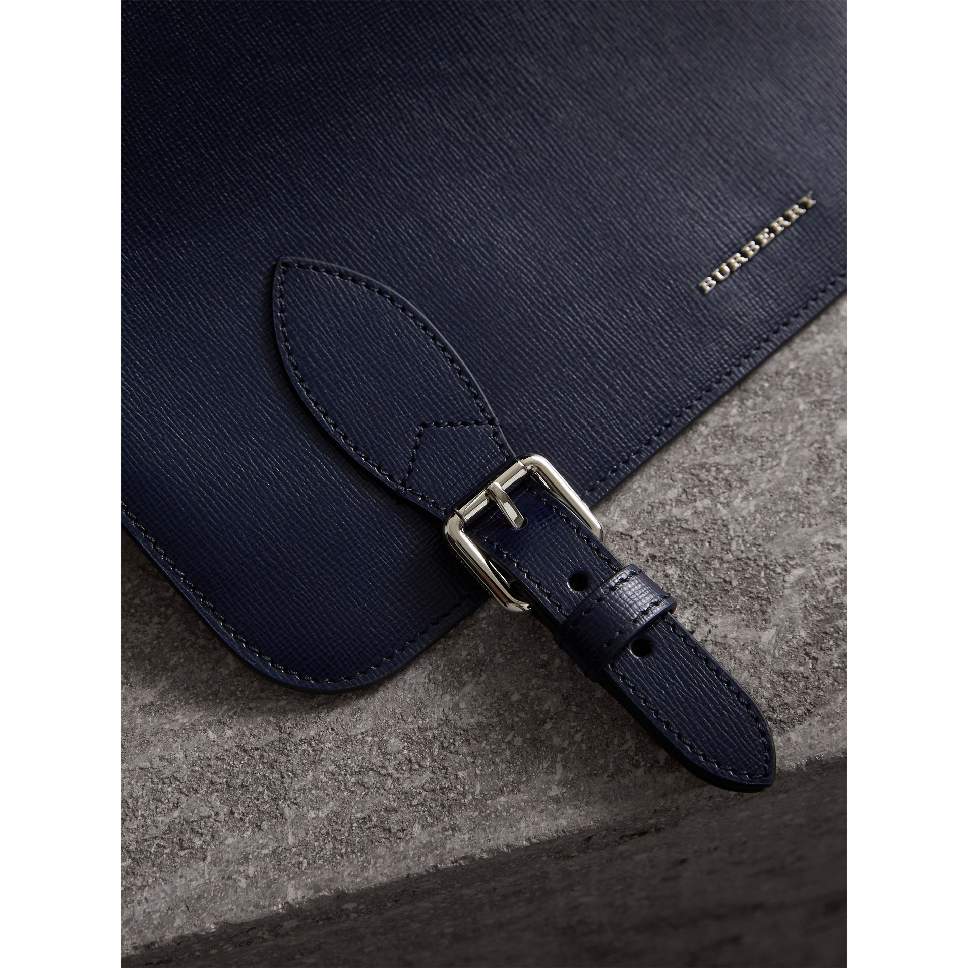 Medium London Leather Messenger Bag in Dark Navy - Men | Burberry - gallery image 2