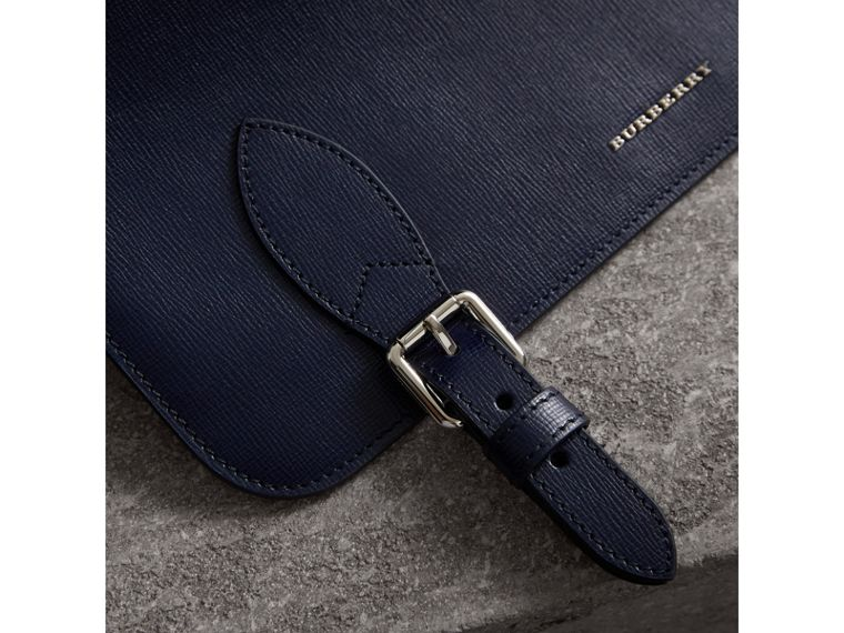 Medium London Leather Messenger Bag in Dark Navy - Men | Burberry - cell image 1