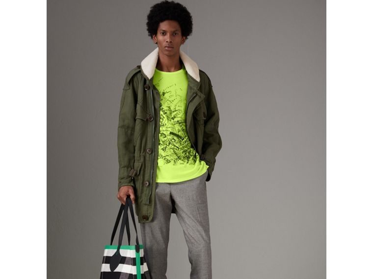 Doodle Print Cotton T-shirt in Bright Lemon - Men | Burberry - cell image 4