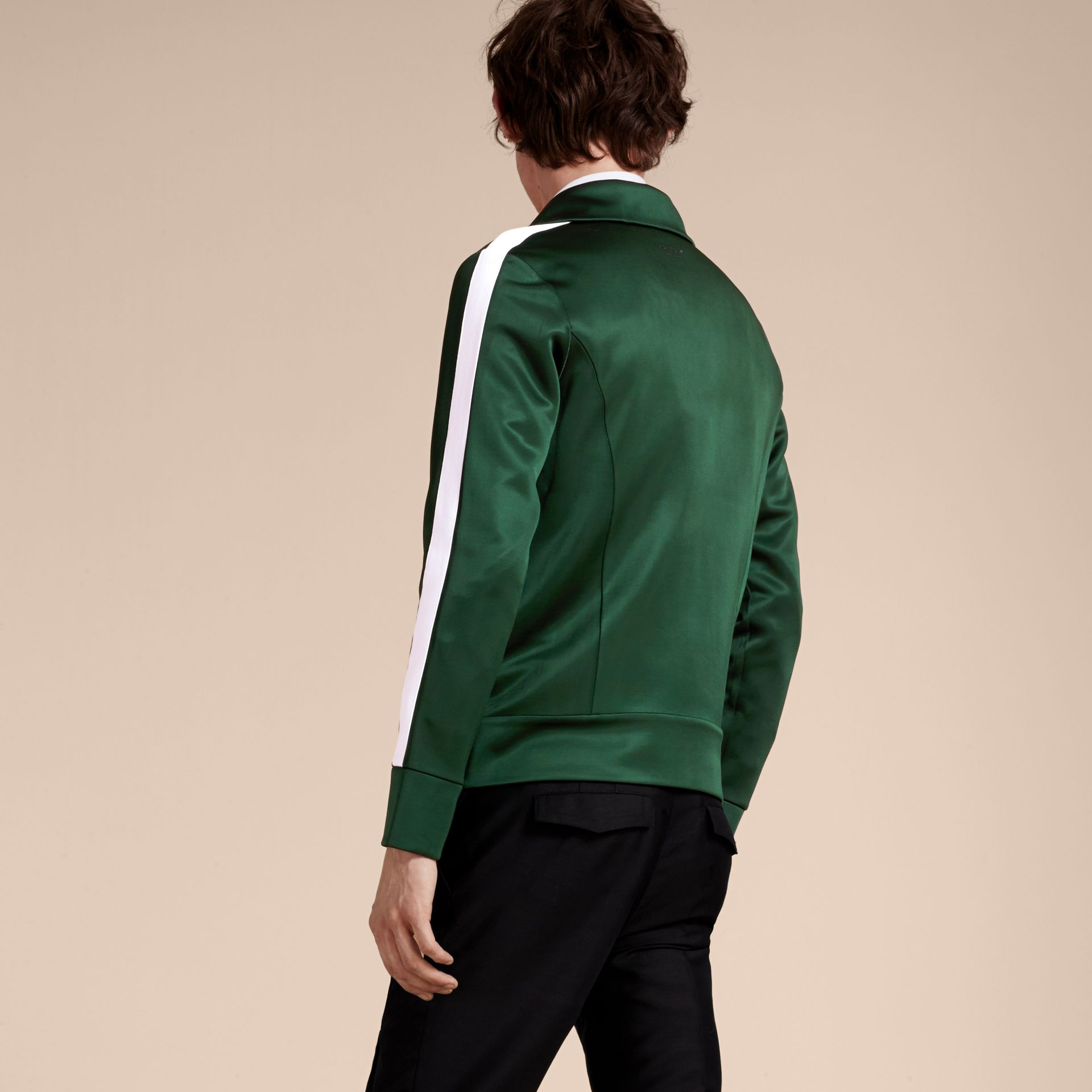 Deep green Stripe Detail Zip Front Jacket Deep Green - gallery image 2