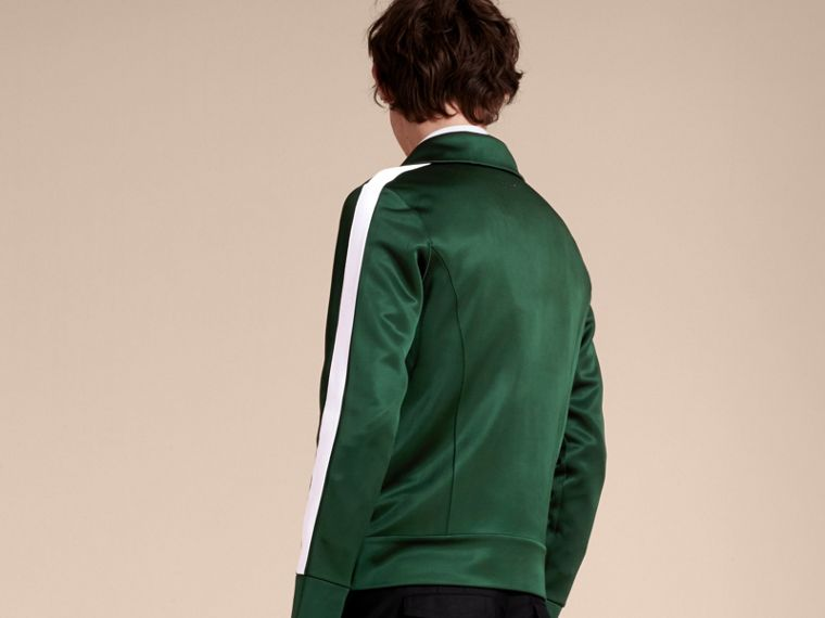 Deep green Stripe Detail Zip Front Jacket Deep Green - cell image 1