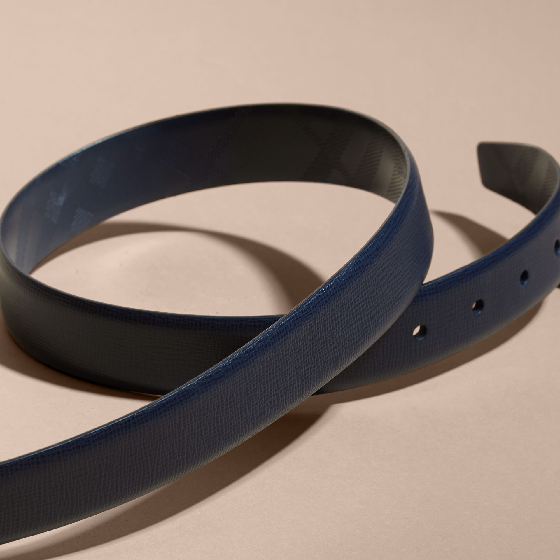 Dark navy London Leather Belt Dark Navy - gallery image 3