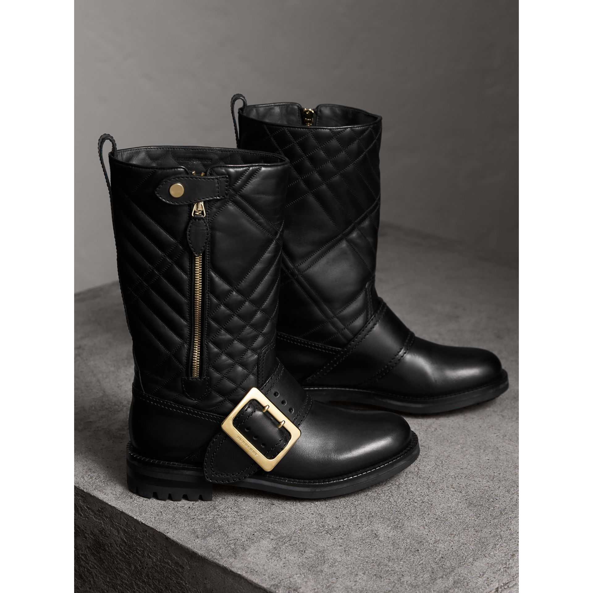 Buckle Detail Check Quilted Leather Boots in Black - Women | Burberry - gallery image 5