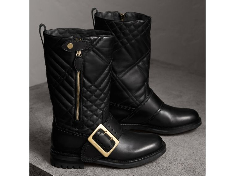 Buckle Detail Check Quilted Leather Boots in Black - Women | Burberry - cell image 4