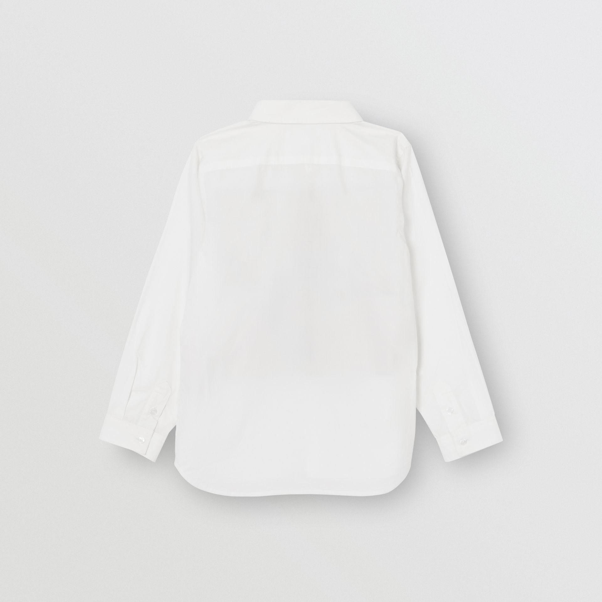 Logo and Archive Scarf Print Stretch Cotton Shirt in White | Burberry United Kingdom - gallery image 3