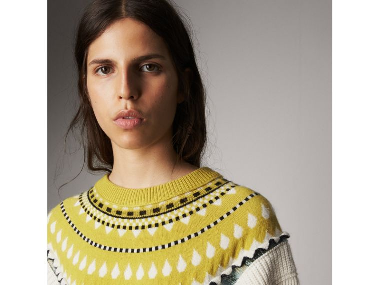 Fair Isle Cashmere Wool Sweater in Pine Green - Women | Burberry - cell image 1