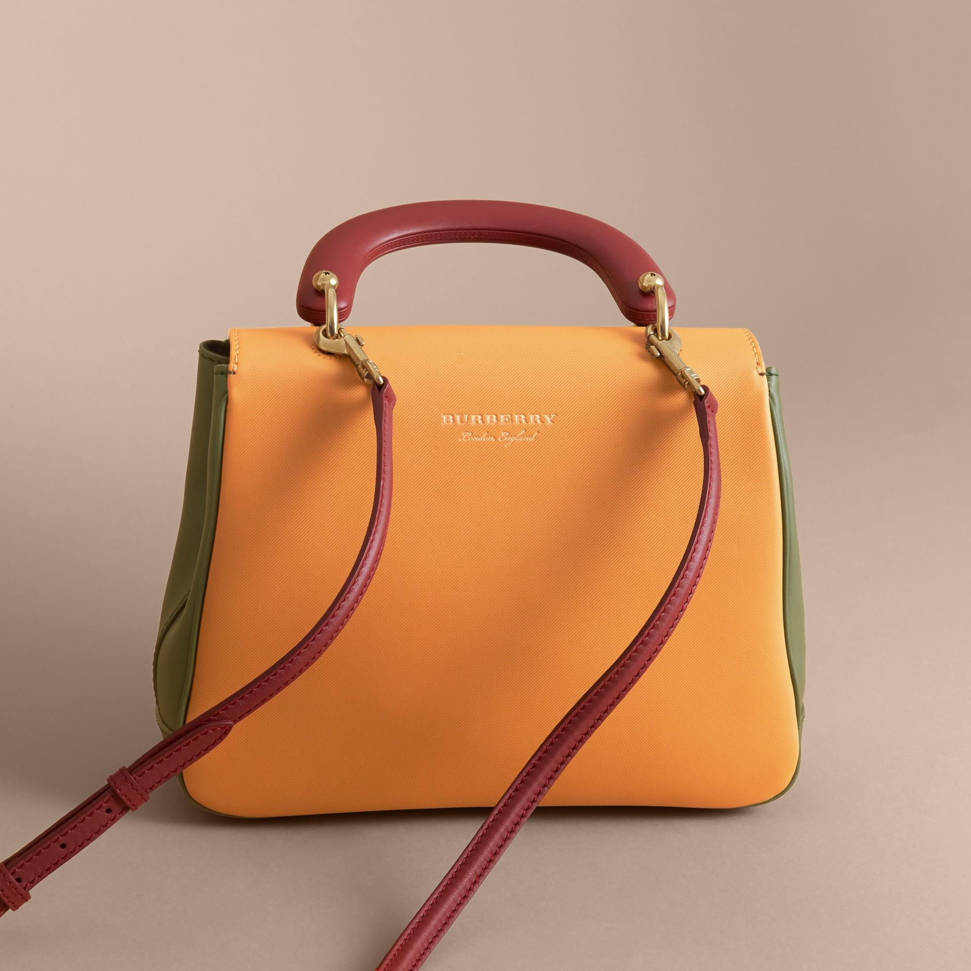 The Medium DK88 Top Handle Bag Moss Green/ochre Yellow - gallery image 5