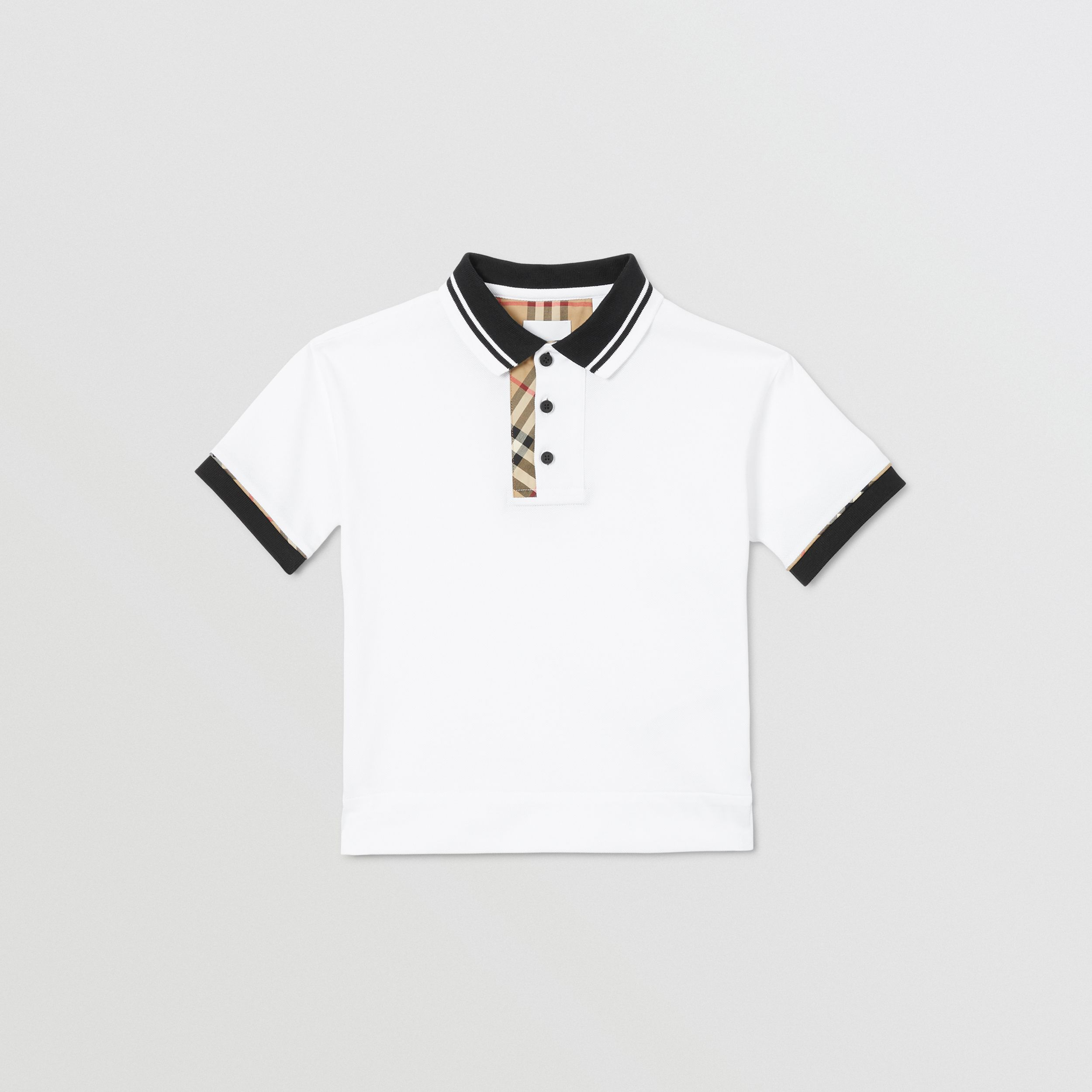 Vintage Check Trim Cotton Polo Shirt in White | Burberry - 1