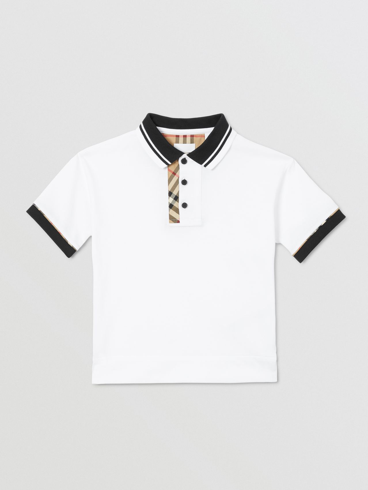 Vintage Check Trim Cotton Polo Shirt (White)