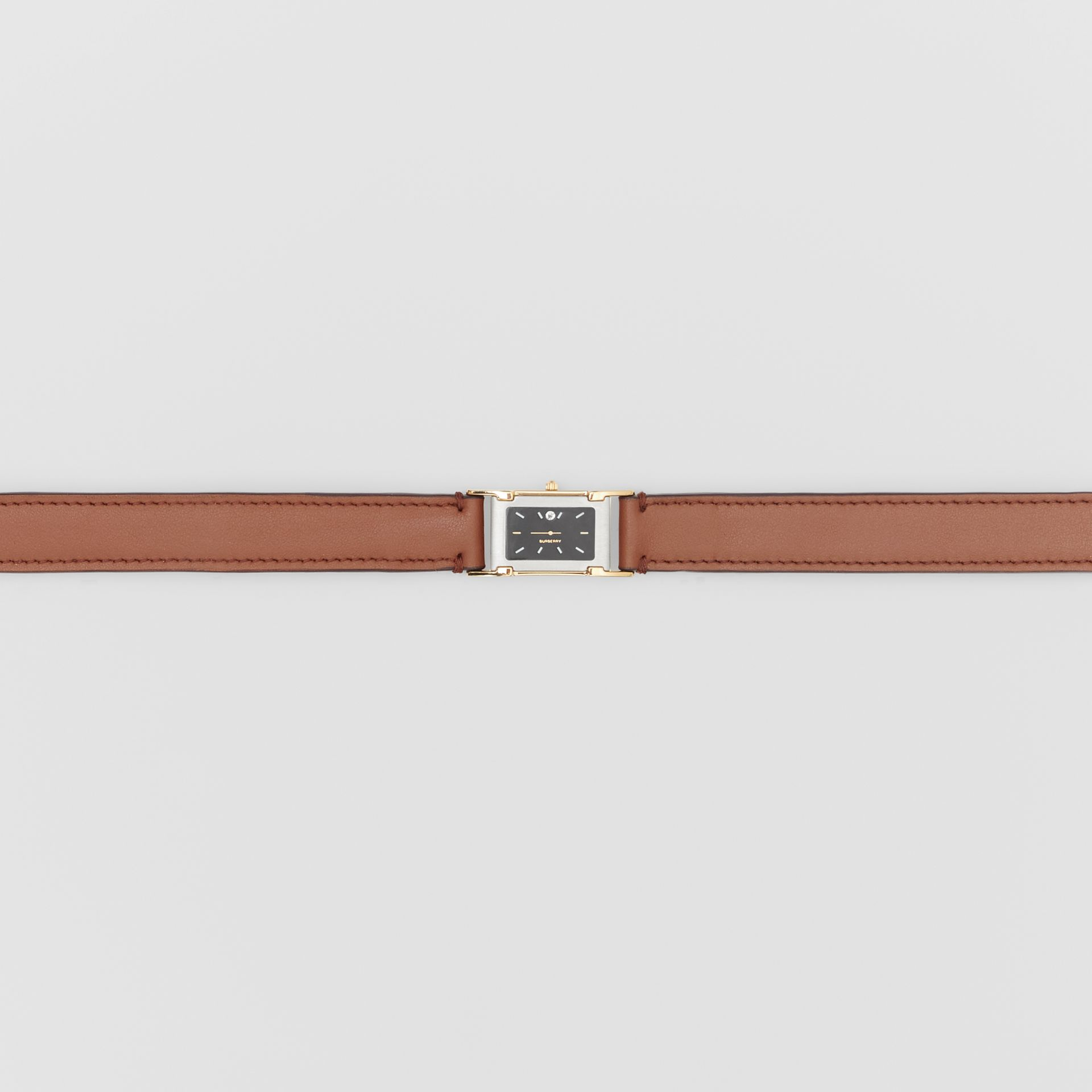 Faux Watch Detail Leather Belt in Tan - Men | Burberry - gallery image 1