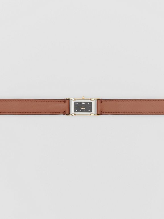 Faux Watch Detail Leather Belt in Tan - Men | Burberry - cell image 1