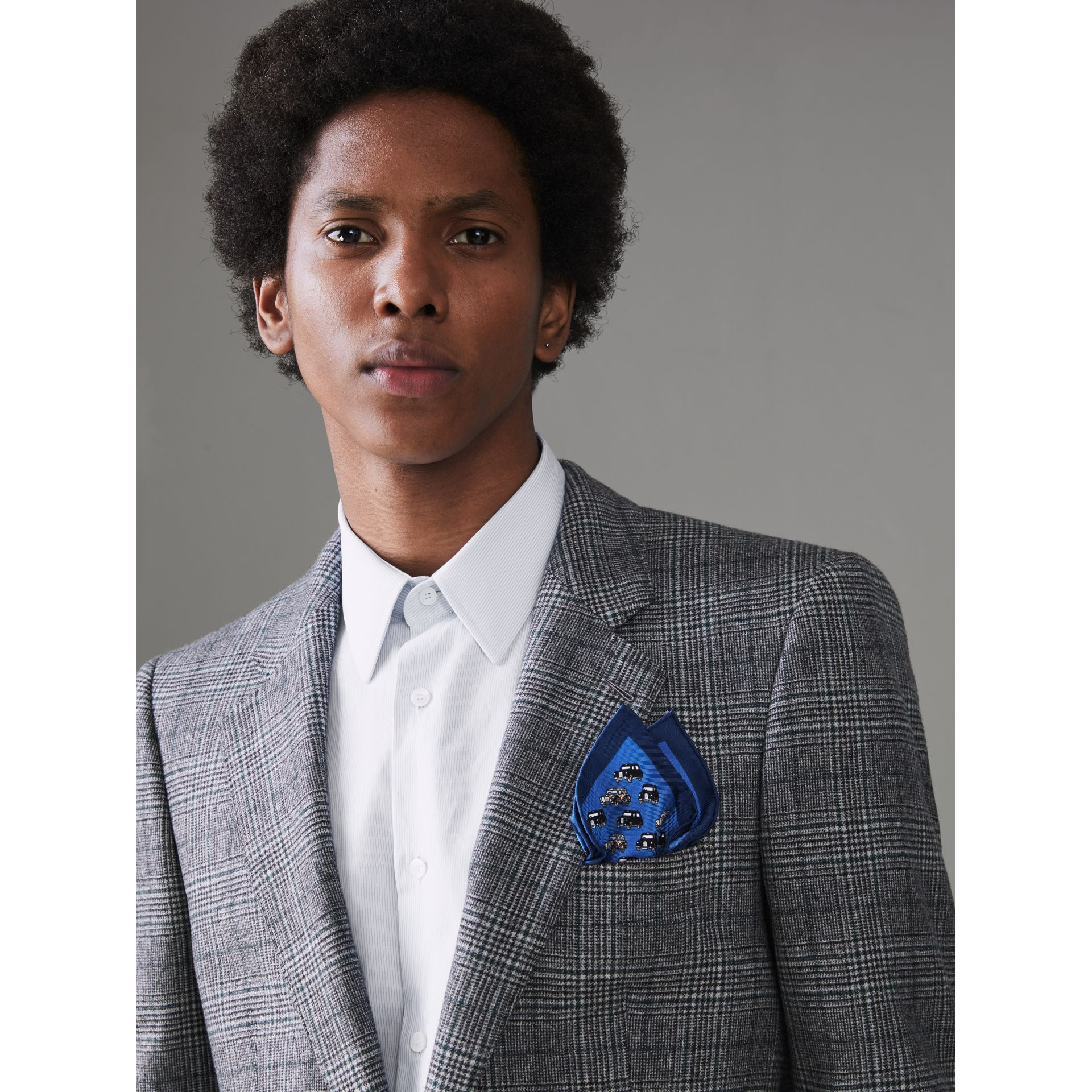 Taxi Print Silk Pocket Square in Hydrangea Blue - Men | Burberry Canada - gallery image 2