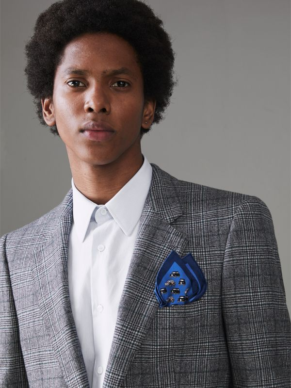 Taxi Print Silk Pocket Square in Hydrangea Blue - Men | Burberry - cell image 2