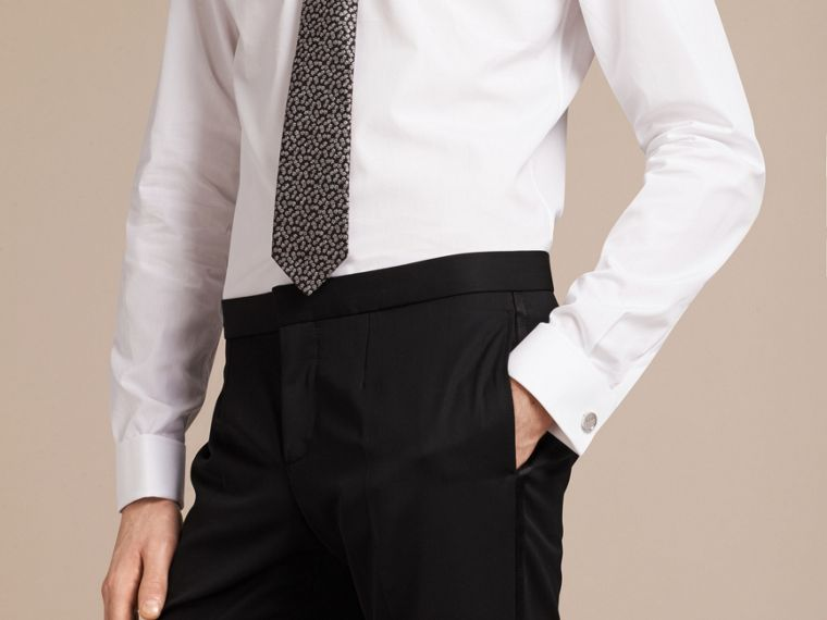 Slim Fit Double Cuff Cotton Poplin Shirt in White - Men | Burberry - cell image 4