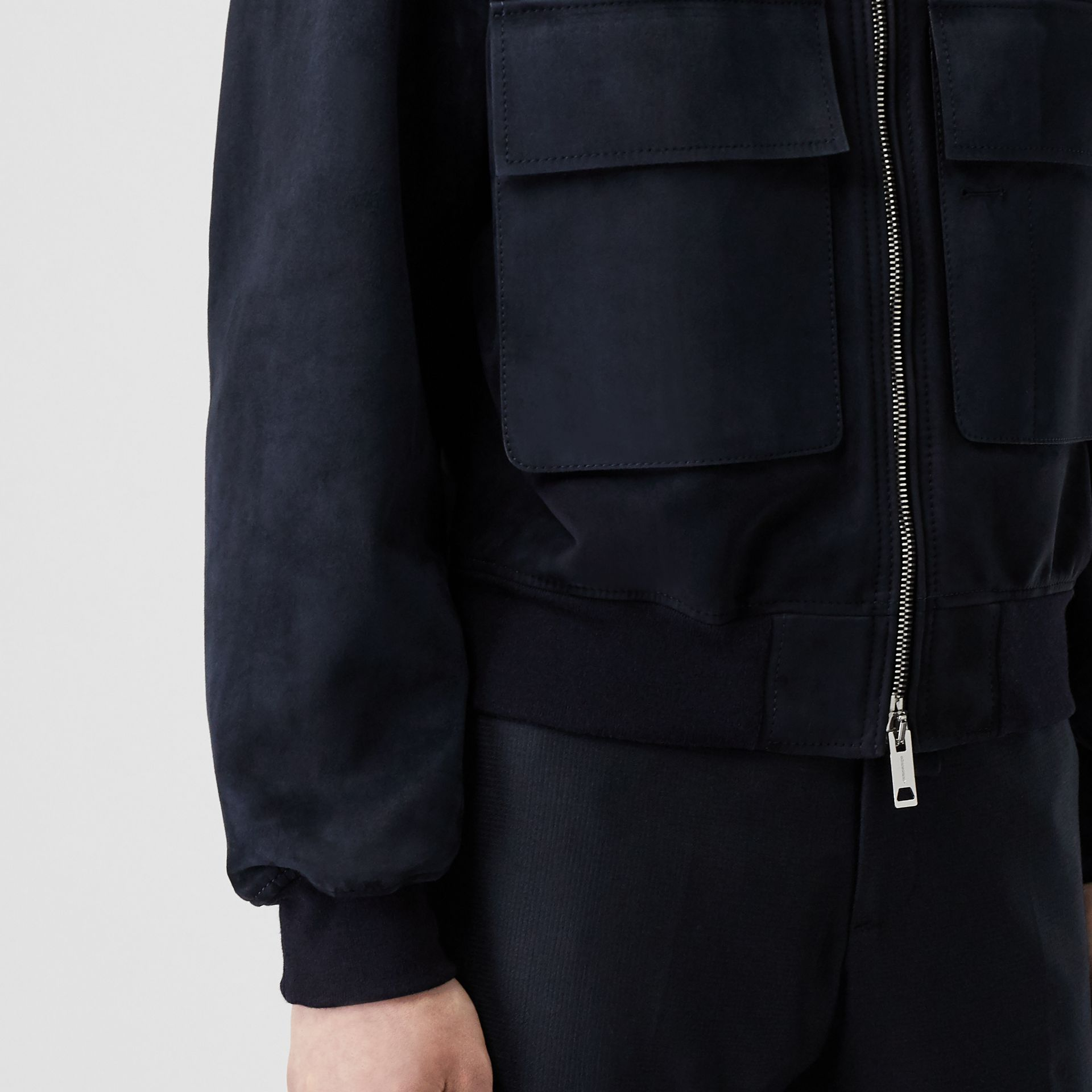 Bonded Suede Bomber Jacket in Navy/dark Brown - Men | Burberry Australia - gallery image 4