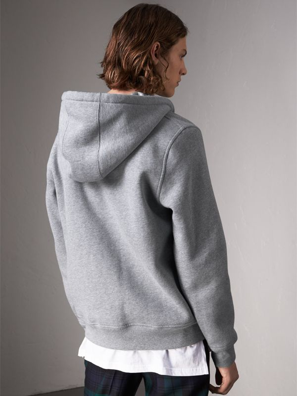 Check Detail Jersey Hooded Top in Pale Grey Melange - Men | Burberry United Kingdom - cell image 2