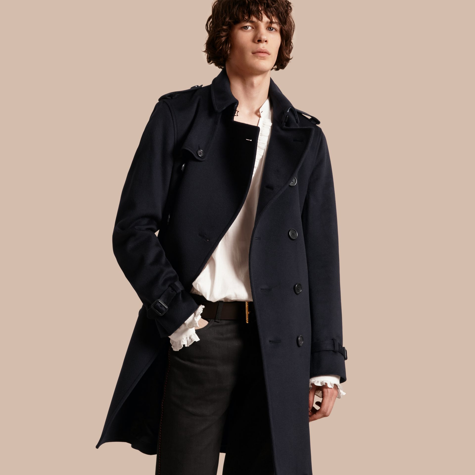 Navy Cashmere Trench Coat Navy - gallery image 1