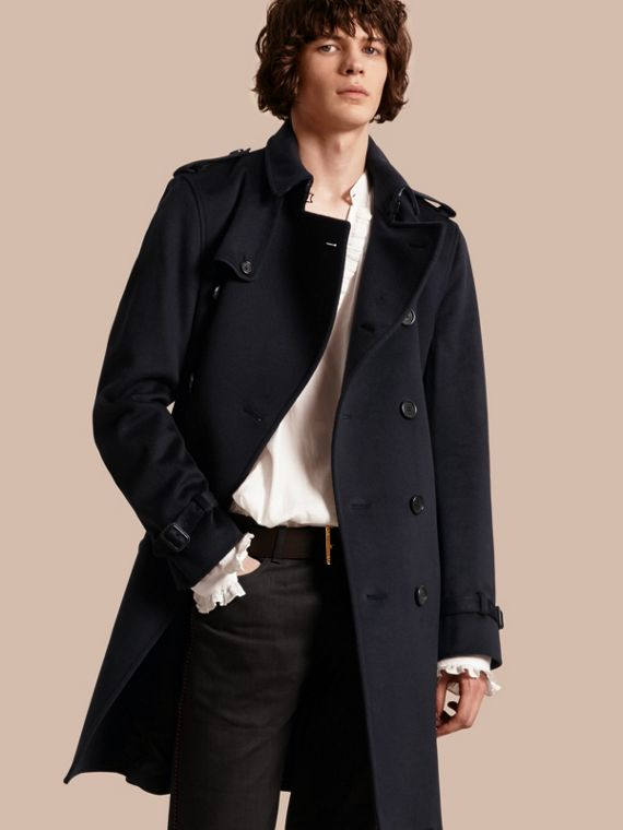 Trench coat in cashmere Navy