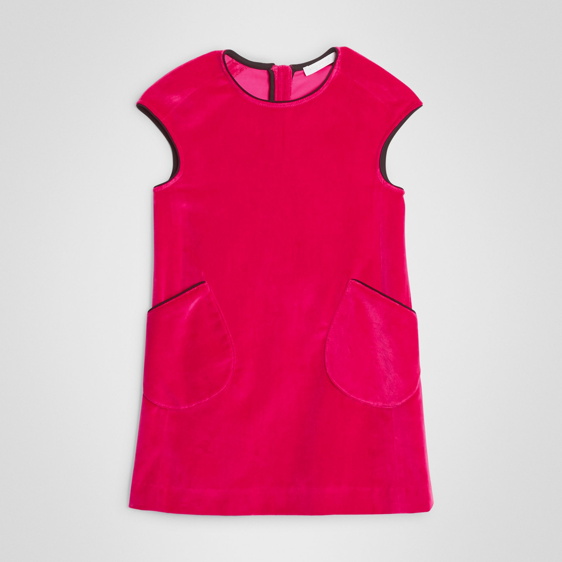 Piping Detail Velvet Shift Dress in Raspberry | Burberry United States - gallery image 0