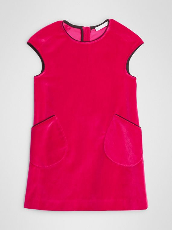Piping Detail Velvet Shift Dress in Raspberry
