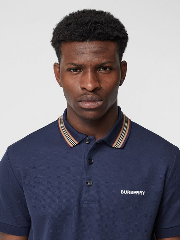 Icon Stripe Detail Cotton Piqué Polo Shirt in Uniform Blue - Men | Burberry - cell image 1