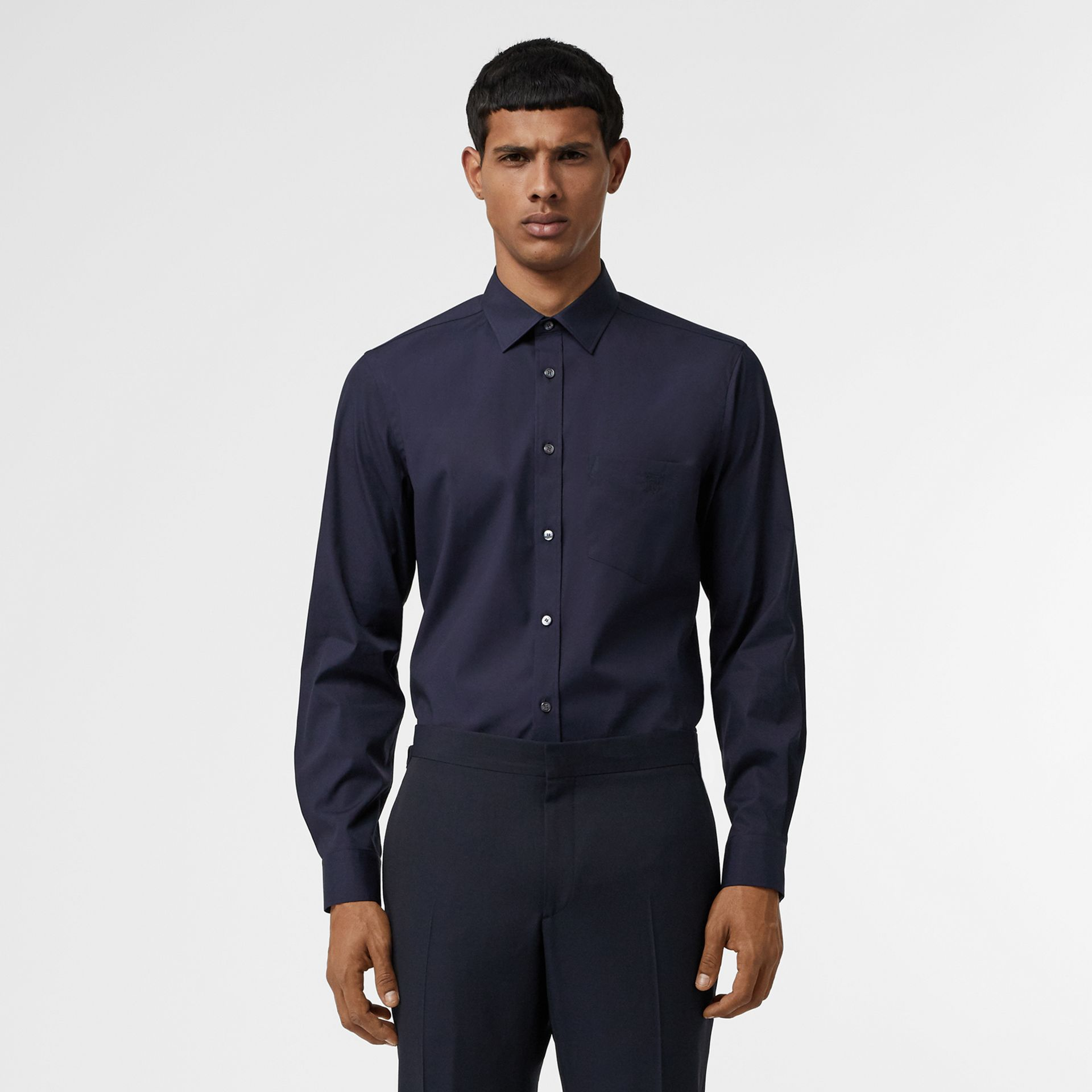 Monogram Motif Stretch Cotton Poplin Shirt in Navy - Men | Burberry - gallery image 0