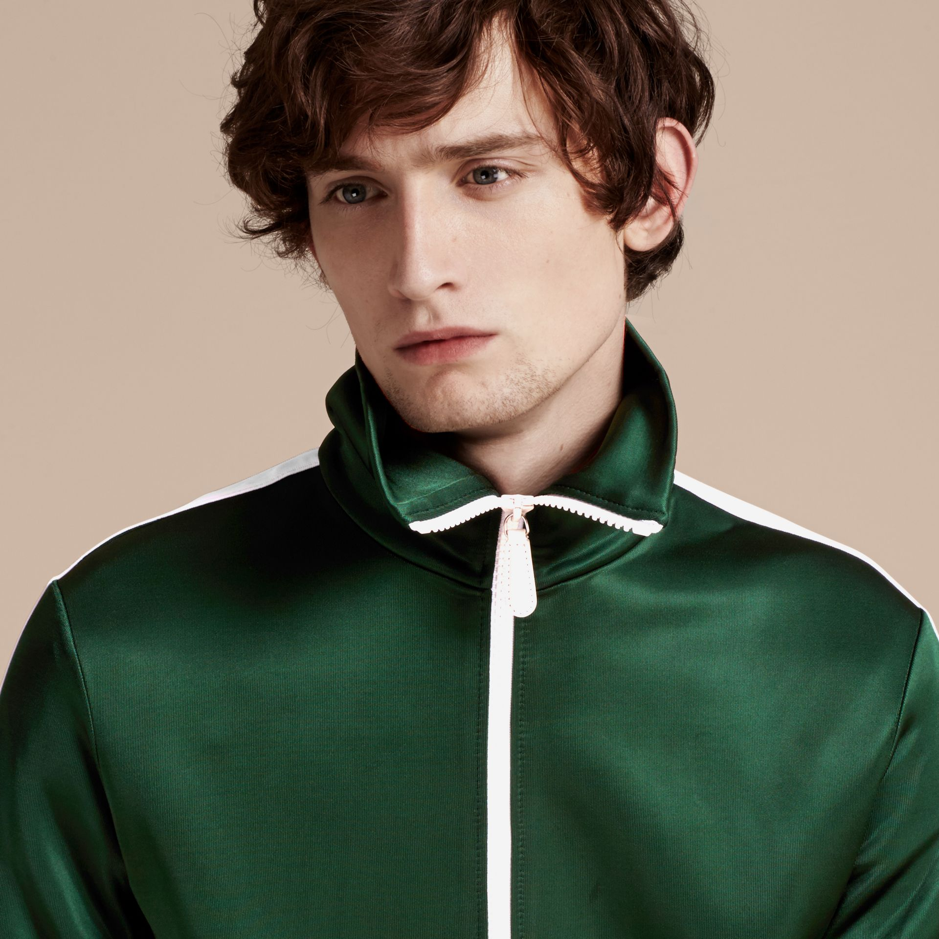Deep green Stripe Detail Zip Front Jacket Deep Green - gallery image 4
