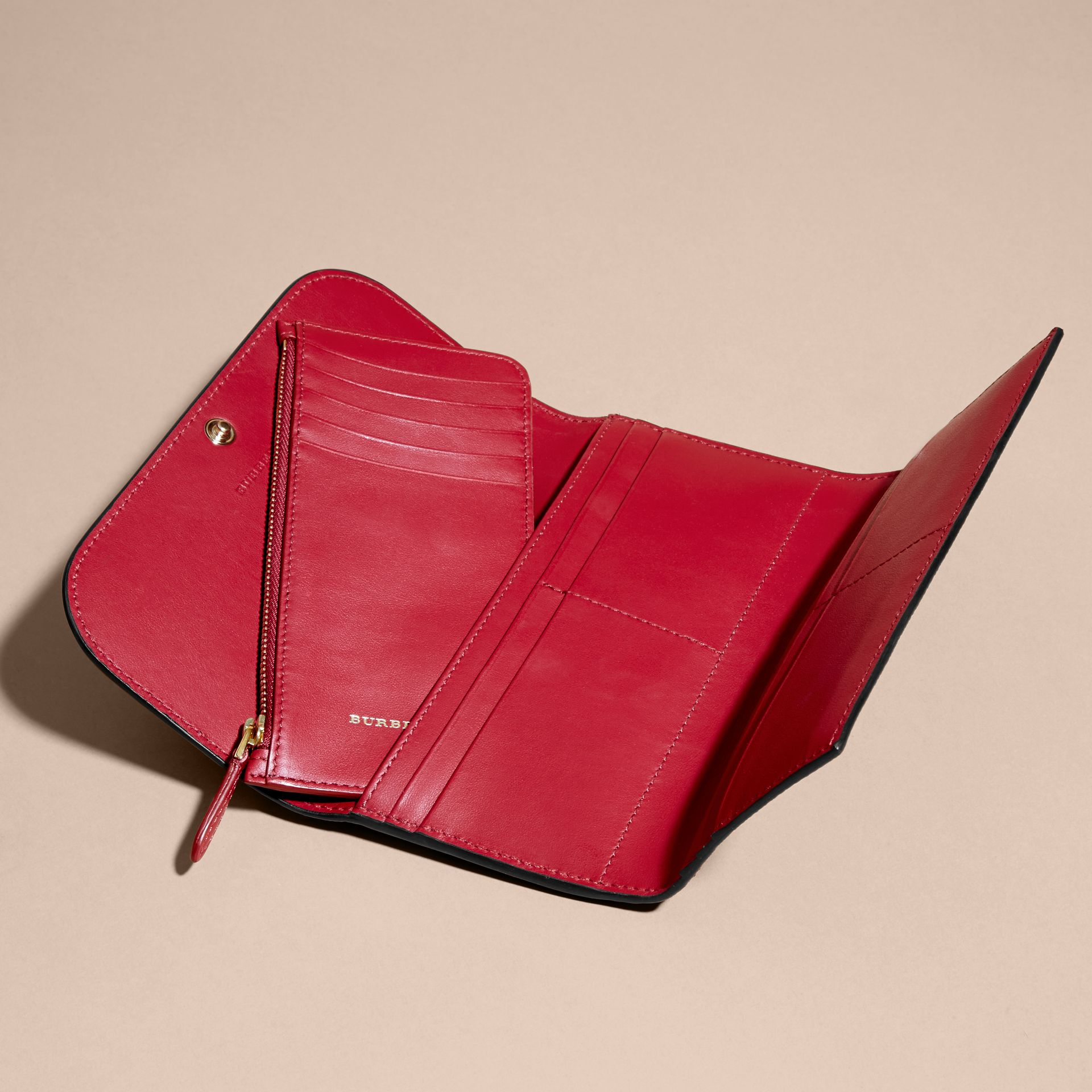 Leather Continental Wallet with Removable Coin Case in Parade Red - Women | Burberry - gallery image 4