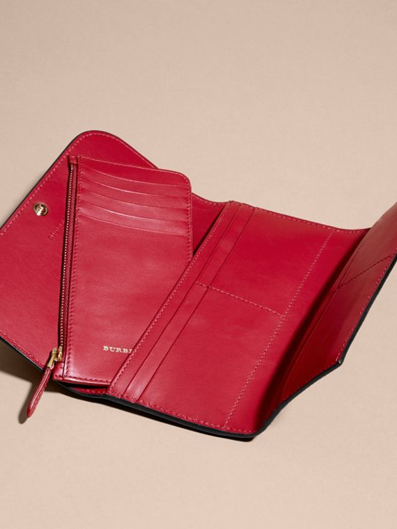 Leather Continental Wallet with Removable Coin Case in Parade Red - Women | Burberry - cell image 3