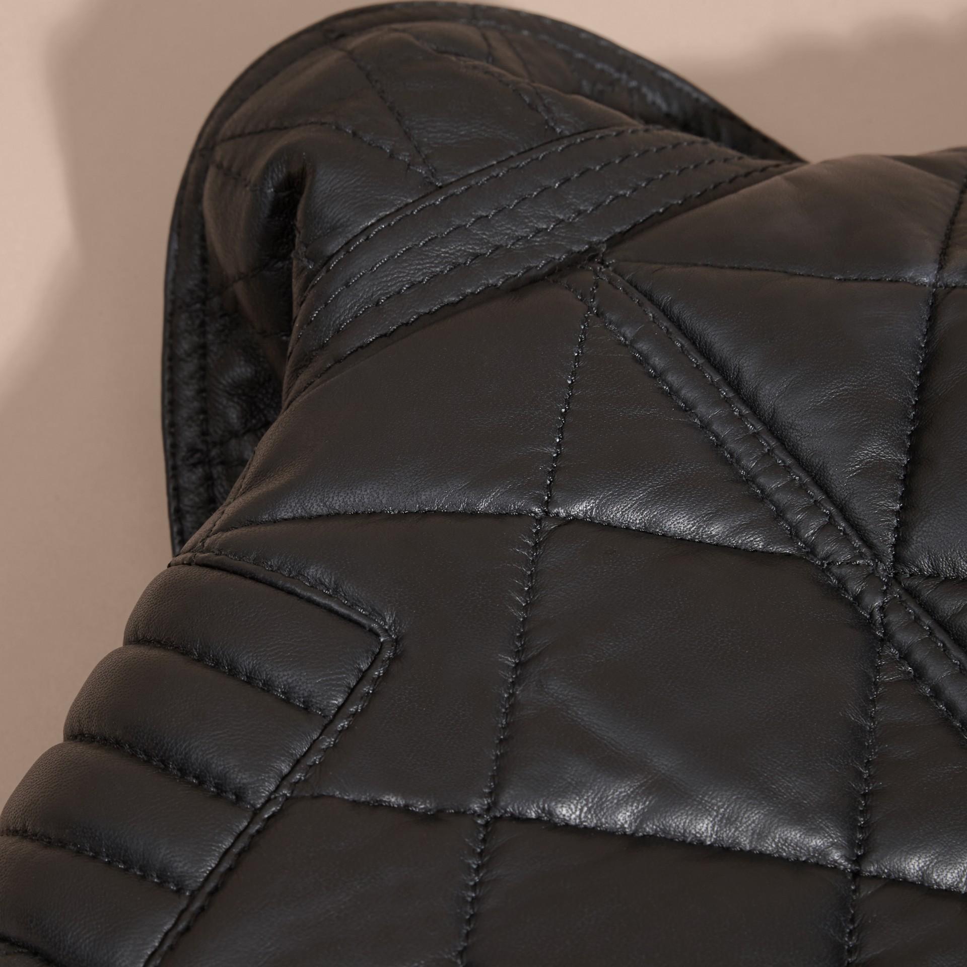 Black Quilted Lambskin Biker Jacket - gallery image 6