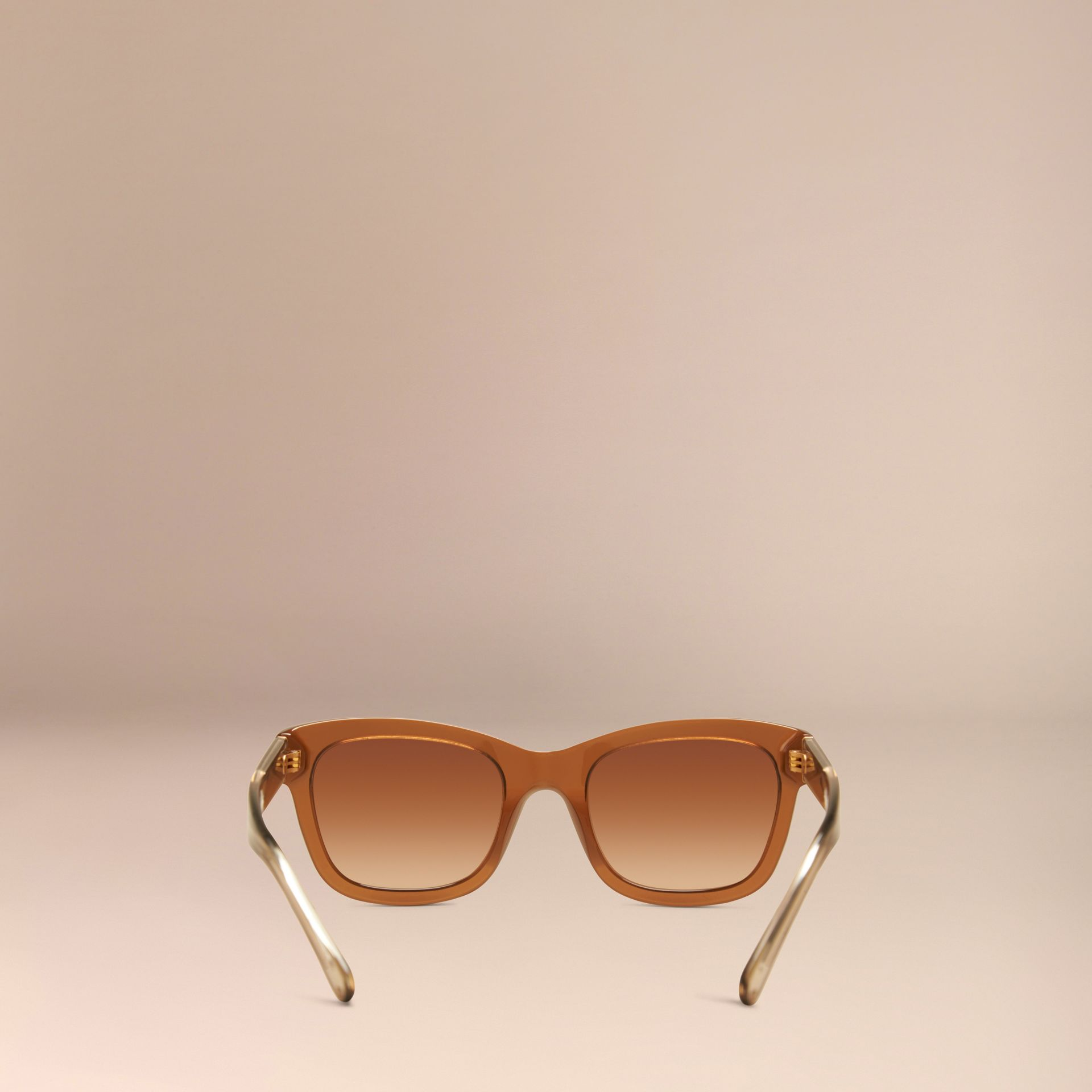 Taupe brown Check Detail Cat-eye Sunglasses Taupe Brown - gallery image 3