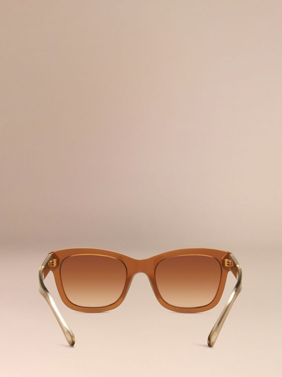 Taupe brown Check Detail Cat-eye Sunglasses Taupe Brown - cell image 2